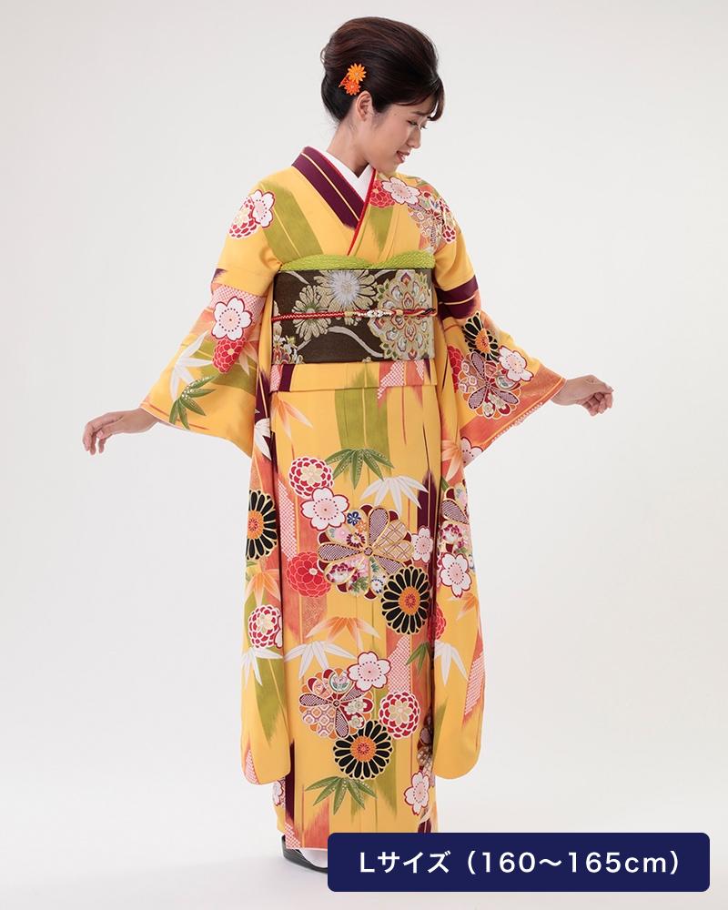 菊に矢絣 優しい黄色によくあう伝統の矢持に和柄の菊で華やかに